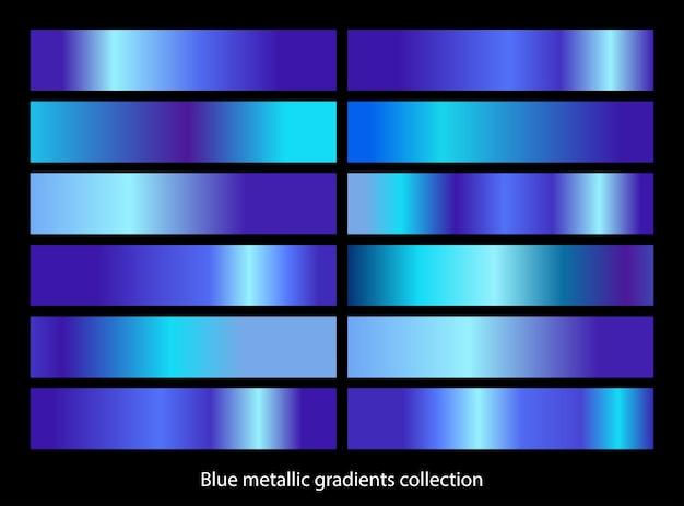 Zestaw niebieski metaliczny szablon gradientu. kolekcja niebieskiego gradientu metalu.