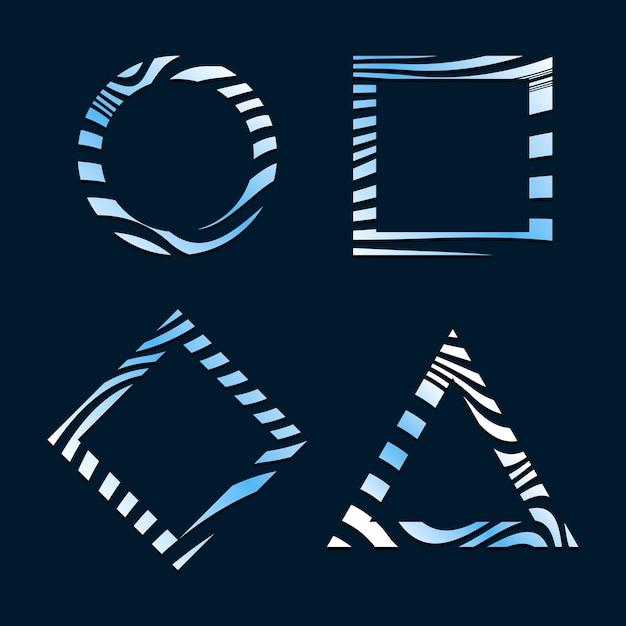 Zestaw niebieski streszczenie znaczek szablonów wektorowych