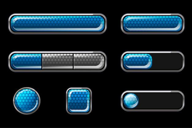 Zestaw niebieskich błyszczących przycisków interfejsu użytkownika.