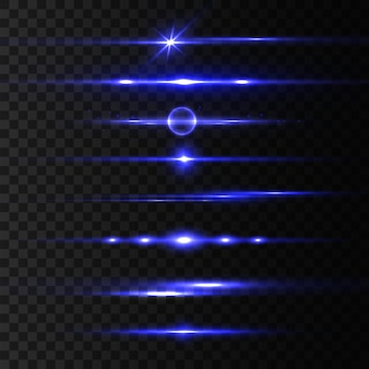 Zestaw niebieskich flar z poziomymi soczewkami, wiązki laserowe, piękne rozbłyski światła. promienie światła. blask linii na przezroczystym tle, jasny blask. świecące smugi. świetlisty abstrakcyjny musujący. ilustracja