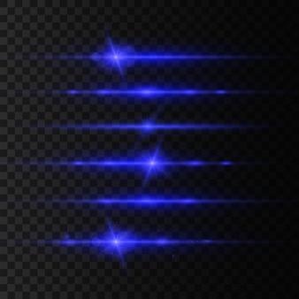 Zestaw niebieskich flar z poziomymi soczewkami, wiązki laserowe, piękne rozbłyski światła. promienie światła. linia blasku, jasny blask. świecące smugi. świetlisty abstrakcyjny musujący.