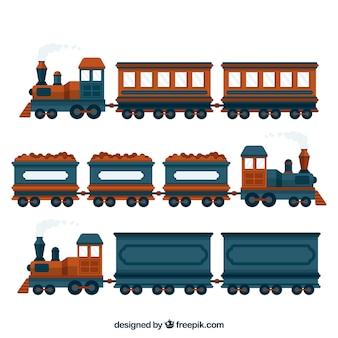 Zestaw niebieskich i brązowych pociągów