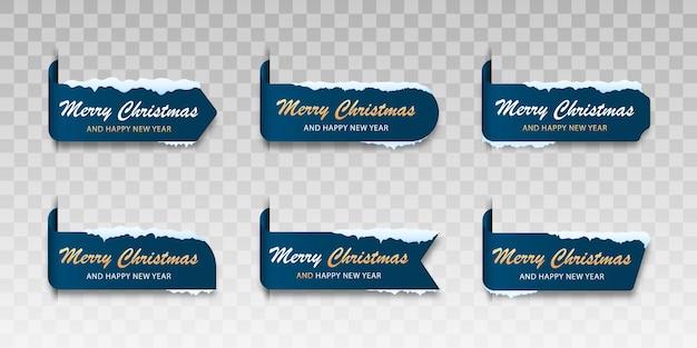 Zestaw niebieskich kart zimowych wesołych świąt etykieta na wesołych świąt ze śniegiem