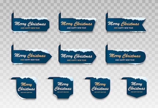 Zestaw niebieskich kartek zimowych wesołych świąt modny i prosty zestaw kartek świątecznych