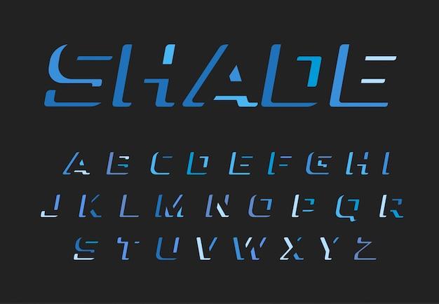 Zestaw niebieskich liter.