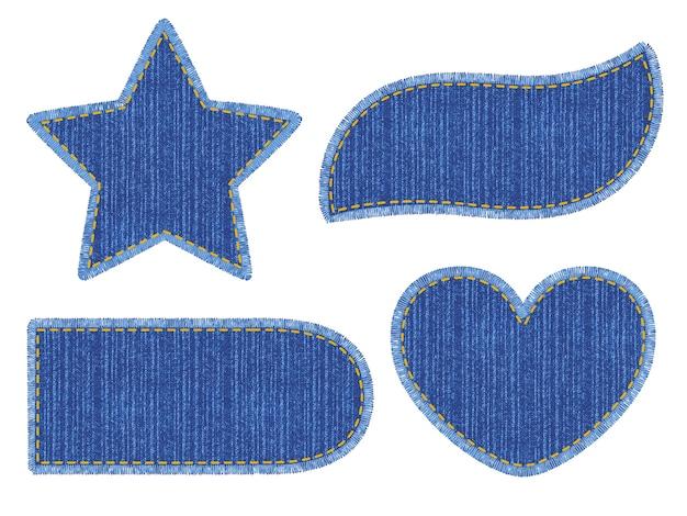 Zestaw niebieskich naszywek dżinsowych ze ściegiem. różne kształty z miejscem na twój tekst na białym tle