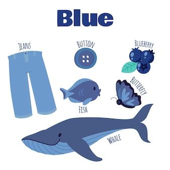 Zestaw niebieskich obiektów i słów słownictwa