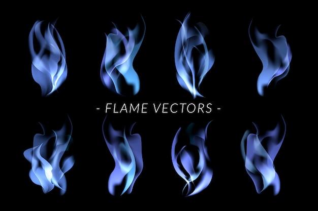 Zestaw niebieskich płomieni