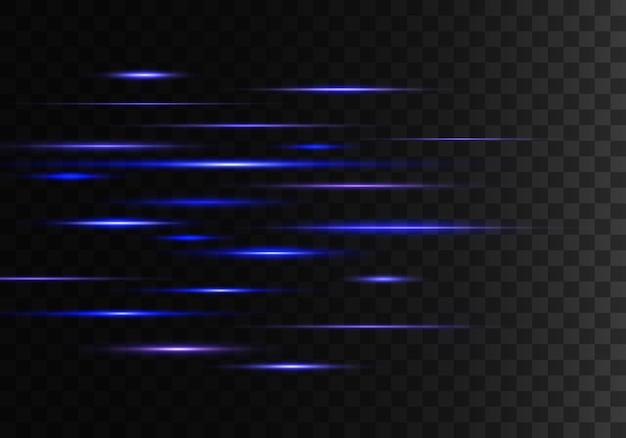 Zestaw niebieskich promieni poziomych, soczewki, linie. wiązki laserowe.