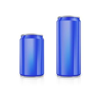 Zestaw niebieskich pustych puszek aluminiowych. narysowany za pomocą narzędzia siatki. w pełni regulowany i skalowalny