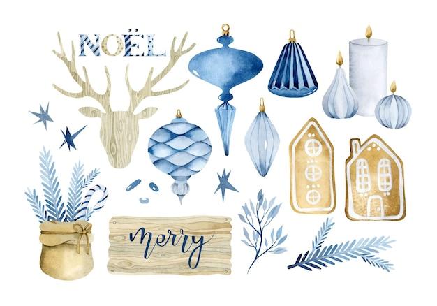 Zestaw niebieskich świątecznych elementów akwarelowych