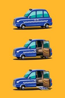 Zestaw niebieskich taksówek