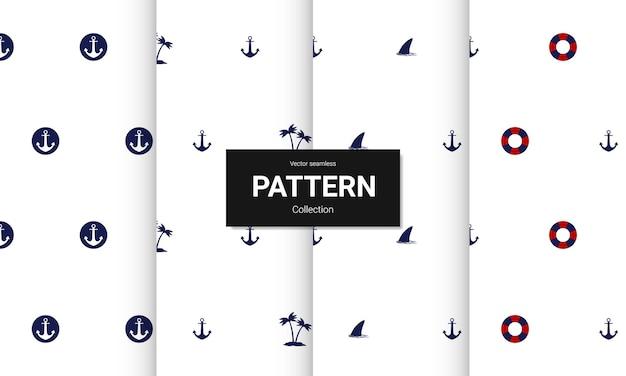 Zestaw niebieskich wzorów bez szwu. wektor bezszwowe tekstury morskie.