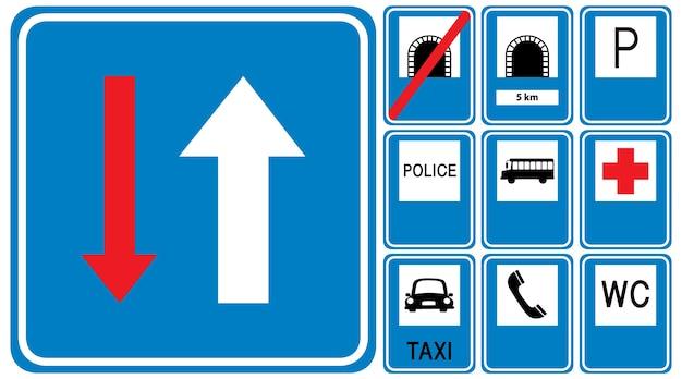 Zestaw niebieskich znaków drogowych na białym tle