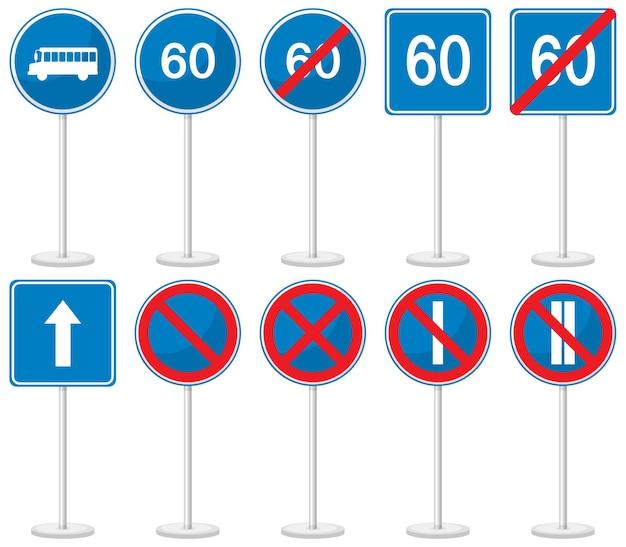 Zestaw niebieskich znaków drogowych z podstawą na białym tle