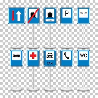 Zestaw niebieskich znaków drogowych z podstawą na przezroczystym tle