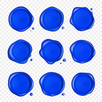 Zestaw niebieskiej pieczęci lakowej. pieczęć lakowa z kropli na białym tle. realistyczne gwarantowane niebieskie znaczki.