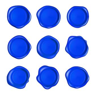 Zestaw niebieskiej pieczęci lakowej. realistyczne gwarantowane niebieskie znaczki.