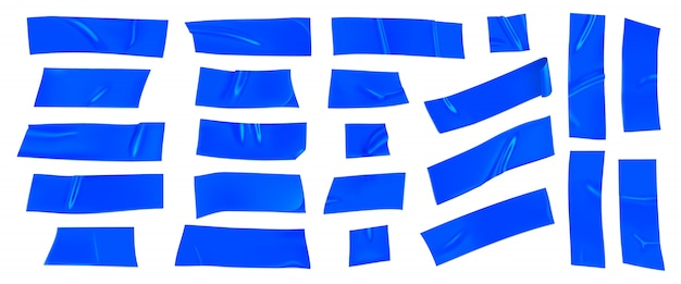 Zestaw niebieskiej taśmy klejącej. realistyczne niebieskie kawałki taśmy klejącej do mocowania na białym tle. papier klejony.