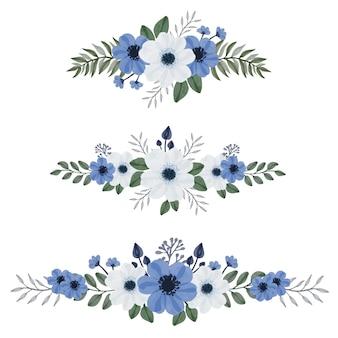 Zestaw niebiesko-białego bukietu akwareli kwiatowy