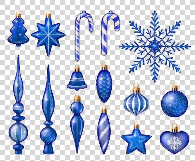 Zestaw niebiesko-białych zabawek do dekoracji choinki na białym tle