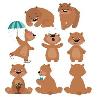 Zestaw niedźwiedzi grizzly. kolekcja kreskówek niedźwiedzi brunatnych. boże narodzenie ilustracja dla dzieci.