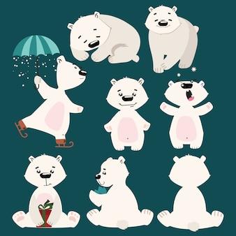 Zestaw niedźwiedzi polarnych. zbiór kreskówek niedźwiedzi polarnych. boże narodzenie ilustracja dla dzieci.