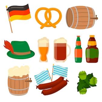 Zestaw niemieckich elementów oktoberfest na białym tle.