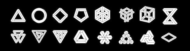 Zestaw niemożliwych kształtów. złudzenie optyczne. ilustracja na białym tle. święta geometria. białe kształty. na czarnym tle