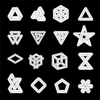 Zestaw niemożliwych kształtów. złudzenie optyczne. święta geometria.