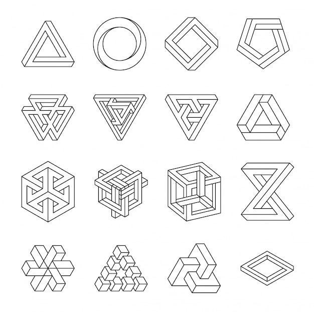 Zestaw niemożliwych kształtów. złudzenie optyczne. wektorowa ilustracja odizolowywająca na bielu. święta geometria.
