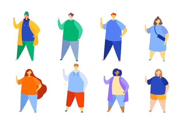 Zestaw nieproporcjonalnych modnych nowoczesnych kreskówek przypadkowych ludzi.