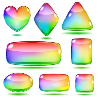 Zestaw nieprzezroczystych kolorowych szklanych kształtów