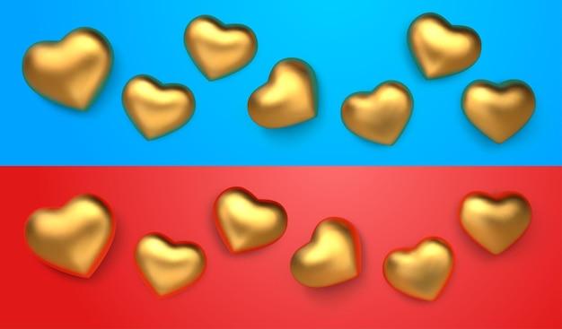 Zestaw niesamowitych realistycznych złotych serc