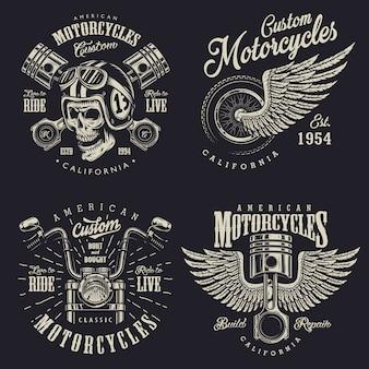 Zestaw Niestandardowych Emblematów Motocyklowych Premium Wektorów
