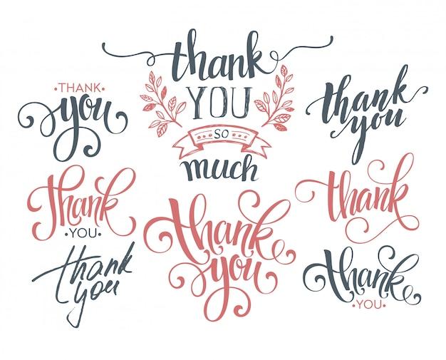 Zestaw niestandardowych napisów dziękuję ręcznie.