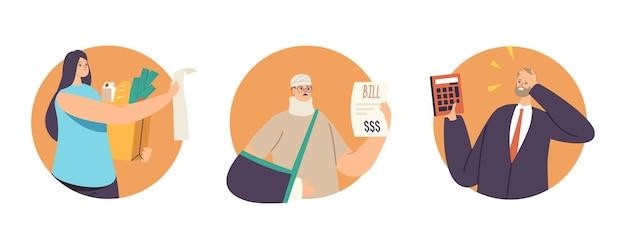 Zestaw niezadowolonych postaci zszokowany koncepcją wysokiej ceny. zdenerwowani ludzie patrzą na rachunki, zdziwieni wysokimi kosztami leków lub artykułów spożywczych, zdumieni, szalonymi emocjami. ilustracja kreskówka wektor
