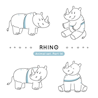 Zestaw nosorożców doodle w różnych pozach na białym tle