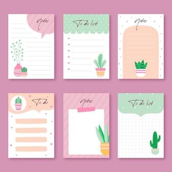 Zestaw notatek i kart w notatniku