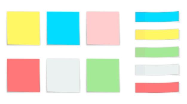 Zestaw notatek. opublikuj naklejki z notatkami. różne kolorowe naklejki papierowe. umieść dowolny tekst
