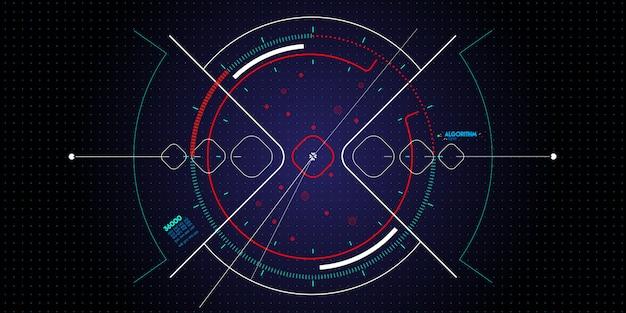 Zestaw nowego komputera interfejsu użytkownika lub smartfonu w ciemności