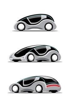 Zestaw nowego samochodu hitech innowacji w stylu rysowania cartool, płaska ilustracja na białym tle
