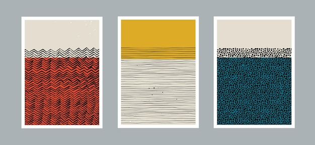 Zestaw nowoczesnego minimalistycznego abstrakcyjnego szablonu estetycznego z prymitywnymi kształtami elementów linii kropek