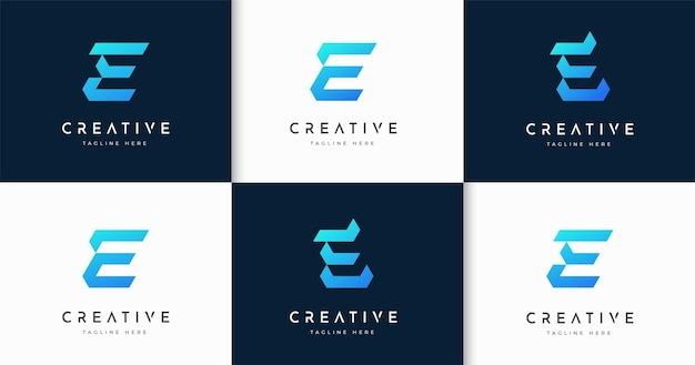 Zestaw nowoczesnego szablonu projektu logo stylu monogram litery e