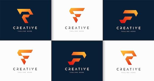 Zestaw nowoczesnego szablonu projektu logo stylu monogram litery f