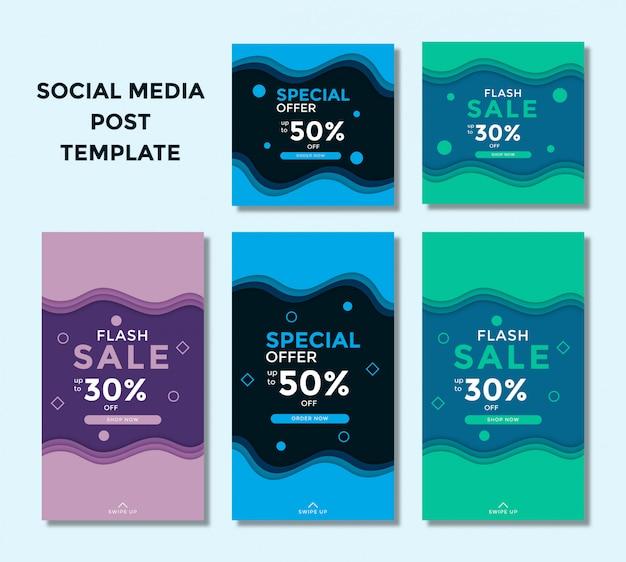 Zestaw nowoczesnego sztandaru sprzedaży i historia na instagramie