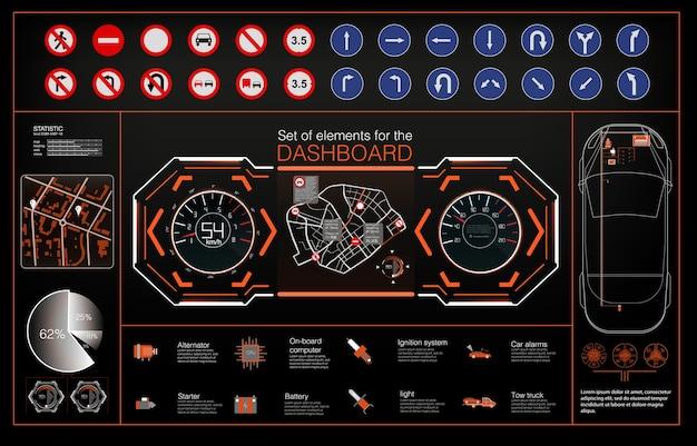 Zestaw nowoczesnego wyświetlacza head up i elementów do niego. futurystyczny interfejs użytkownika. hud ui.