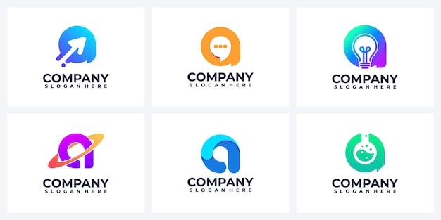 Zestaw nowoczesnej abstrakcyjnej litery inspiracji logo