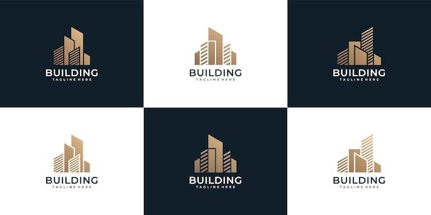 Zestaw nowoczesnej nieruchomości budowlanej logo nieruchomości firmowej