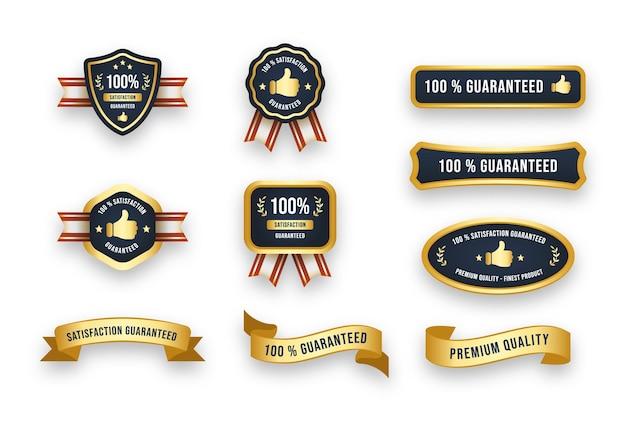 Zestaw nowoczesnej odznaki gwarantującej satysfakcję i ilustracji wektorowych wstążki